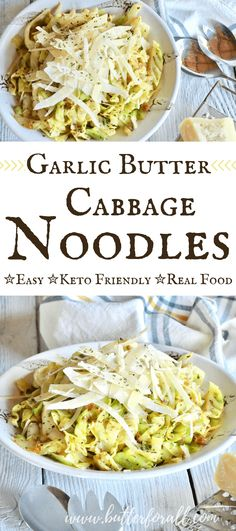 These keto friendly cabbage noodles are such an easy dish to prepare. They are fast and full of garlic, herb and butter flavor. You will love adding these noodles into your real food recipe rotation! These easy, keto friendly Low Carb Recipes, Real Food Recipes, Diet Recipes, Vegetarian Recipes, Cooking Recipes, Yummy Food, Recipes Dinner, Pasta Recipes, Keto Veggie Recipes