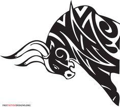 Tribal bull tattoo design (all black)