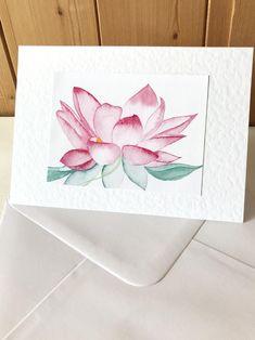 Lotus Flower Handmade Watercolor Card Get Well Card | Etsy Get Well Cards, Watercolor Cards, Lotus Flower, Homemade Cards, I Card, Your Cards, Original Artwork, Card Making, Greeting Cards