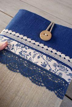 Navy blue denim + linen + blue lace: