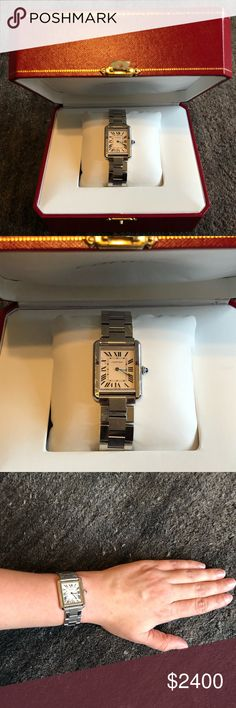 Cartier Tank Solo in Stainless Steel, Sz. Small Selling a beautiful Cartier Tank Solo in sz Small! Comes with original box, travel box, Cartier bag, papers, and manuals. It's 2yrs old and in great condition, showing only minor scratches which can be polished out. It has a steel case, beaded crown with a synthetic spinel cabochon, clear silvered opaline dial, Roman numerals, blued-steel sword-shaped hands, sapphire crystal, and steel bracelet. Retails for $2880 w/ tax.  Case dimensions: 31 mm…