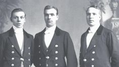 """Butlers Joseph Moseley and Thomas Barrow, along with footman Alfred Nugent, pose for January issue of """"Men In Our Homes"""". Downton?"""