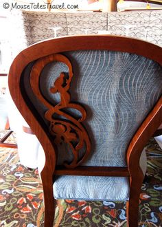 Subtle touches from Disney's Ratatouile grace the chairs at Remy aboard the Disney Dream and Disney Fantasy