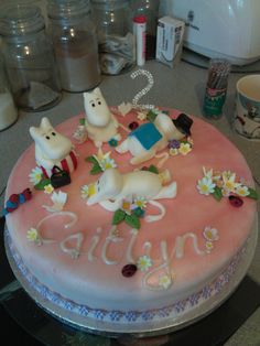 My Moomins, 2nd Birthday Moomin cake all hand made by me :) (leaving the comment so she gets credit, I think its very cute)