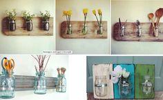 "1 é pouco, 2 é bom, 3 é demais! ""ReUse"" potes de vidro, pra formar este trio organizador e embelezador de ambientes! Diy House Projects, Diy Projects To Try, Bottles And Jars, Glass Jars, Mason Jars, Reuse Jars, Decorative Hooks, Reuse Recycle, Upcycled Crafts"