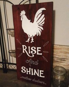 Excited to share the latest addition to my #etsy shop: Rise and Shine Mother Cluckers Sign, Home Decor, Wall Art http://etsy.me/2DeWhIa #homedecor #handpainted #decor #wood #sign
