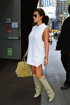 Kim Kardashian out in NYC (September 6 2012) Celine Luggage phantom suede tote bag Light brown Givenchy Shark Lock Fold over wedge boots
