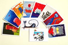 10 card set Original Funny Birthday cards / Cat by AstaArtwork, $22.50