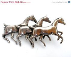 Sale Three Running Horse Brooch Sterling Silver Vintage Figural Pin