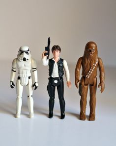 Vintage 1977 Star Wars Set - Han Solo, Chewbacca, and Storm Trooper - Kenner action figures lot. $37.00/£23.93 ~ UtterMabness @ etsy