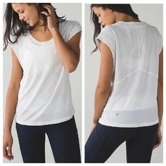 Lulu lemon Get Sweat Tee This Get Sweat Tee is perfect to keep you cool! Seriously Light Luon fabric which is sweat-wicking and four way stretch. Strategically placed mesh fabric panel and dropped armholes help keep air flowing. Reflective details help you shine bright from behind. Loose fit, hip length. Color is heather white. Price is firm. lululemon athletica Tops