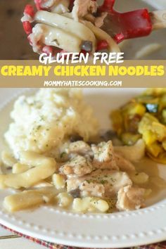 Make the perfect Sunday dinner with these GlutenFree Creamy Chicken Noodles. This recipe uses homemade egg noodles to create a delicious homemade meal. Best Gluten Free Recipes, Popular Recipes, Easy Healthy Recipes, Lunch Recipes, Fall Recipes, Easy Dinner Recipes, Egg Recipes, Homemade Chicken And Noodles, Chicken Noodles