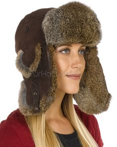 Ladies Brown Suede Trapper Hat with Brown Rabbit Fur aa863a23f0b6