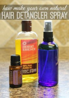 How to make your own natural hair detangling spray with essential oils (1 TBSP 100% Jojoba Oil & 10-15 drops Lavender Essential Oil in small GLASS spray bottle)
