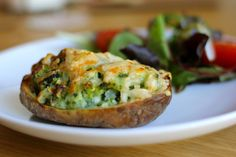 Spinach and Goats cheese stuffed Jacket Potatoes