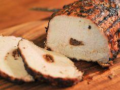 dried fruit stuffed grilled pork loin