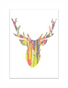 Rainbow Deer  Antlers  Art Watercolor   Print  8x11 by mallalu
