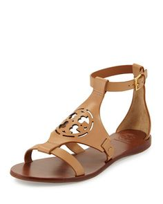 Zoey Leather Logo Flat Sandal, Sand by Tory Burch at Neiman Marcus. Ankle Strap Flats, Ankle Wrap Sandals, Leather Sandals Flat, Open Toe Sandals, Flat Sandals, Shoes Sandals, Flat Shoes, Strap Sandals, Caged Sandals