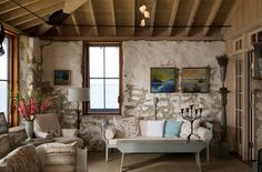 Add a flea market find to give the rustic space a more authentic look [Design: Knickerbocker Group]