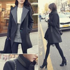 Contrast-Trim+Single-Button+Coat+from+#YesStyle+<3+45SEVEN+YesStyle.com