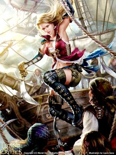 Illustration for Legend of the Cryptids (Sally adv. Pirate Art, Pirate Woman, Character Inspiration, Character Art, Character Design, Fantasy Women, Fantasy Girl, Fantasy Characters, Female Characters