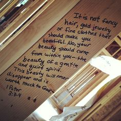 """A friend of mine had a """"scripture party"""" for their house they're building where everyone comes over and writes scripture all over the lumber before its finished.  This particular scripture was written on her little girls bedroom door jamb. Awesome idea!!"""