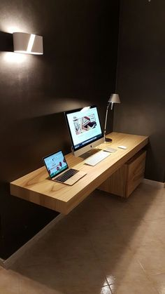 Furniture Home Office Design Ideas. Hence, the requirement for home offices.Whether you are planning on adding a home office or restoring an old space into one, here are some brilliant home office design ideas to help you get going. Diy Office Desk, Home Office Setup, Home Office Space, Home Office Desks, Diy Desk, Office Ideas, Desk Setup, Workspace Desk, Bookshelf Desk
