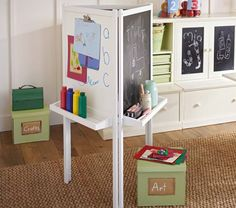 3-Sided Easel, Simply White | Pottery Barn Kids. I'm thinking if you bought 2 IKEA 15 dollar easels you can make a 4-sided easel pretty easily right?