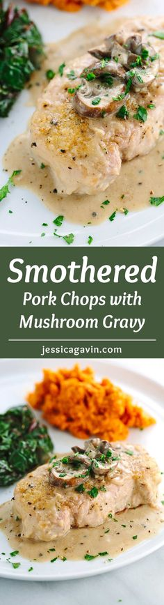 Smothered Pork Chops with Mushroom Gravy - A quick and comforting one pot dish that everyone will enjoy. Savory spices coat each bite of tender lean pork.  via @foodiegavin