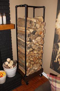 indoor wood rack using plumbing fittings.  Great idea!