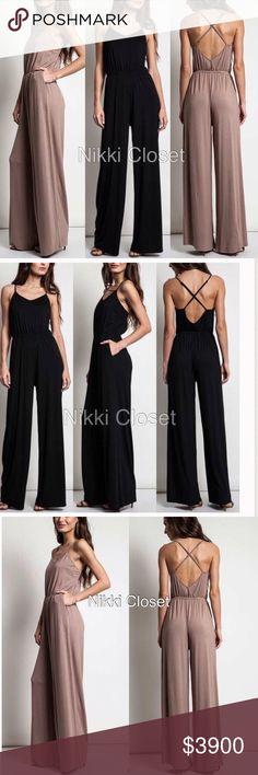 Criss criss back wide leg jumpsuit jumper dress ‼️2 colors to choose from Black OR MOCHA is available‼️Price is firm unless bundled‼️  New with tags retail item. sexy jumpsuit jumper catsuit dress, high waisted wide leg pants,crisscross back.backless open back style . Adjustable straps. Elastic waist.   ⭐high quality Material , -super comfy and stretchy fabric. Boutique Pants Jumpsuits & Rompers