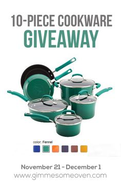 10-Piece Cookware Set Giveaway from Gimme Some Oven and Eat Shrimp | gimmesomeoven.com #giveaway