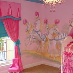 Horses girl's bedroom. Very pink.