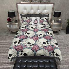 Teal Leaf and Red Rose Skull Duvet Bedding Sets Cream Bedding, Duvet Bedding Sets, Comforters, Throw Pillow Covers, Duvet Covers, Throw Pillows, Black Canopy Beds, Black Duvet Cover, Soft Blankets