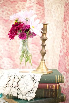 Books // flowers  // candle // lace