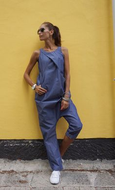 NEW Collection SS Sexy Denim Drop Crotch Jumpsuit / Extravagant Summer Loose Jumpsuit / Casual Daywear with pockets by AAKASHA NEW Collection SS 2016 Sexy Denim Drop Crotch Jumpsuit / Extravagant Summer… Jumpsuit Casual, Denim Jumpsuit, Overalls, Sexy Jeans, Edgy Look, Look Chic, Light Denim, Wedges Outfit, Drop Crotch