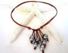 Perla y collar de cuero plata círculo collar por ChristineChandler