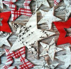 4 x Single Table Paper Napkins /Craft / Party/ for Decoupage / WOODEN STARS
