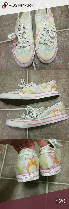 Rainbow Coach scribble sneakers size 8 You'll love these colorful Coach scribble sneakers in a size women's 8 Coach Shoes Sneakers