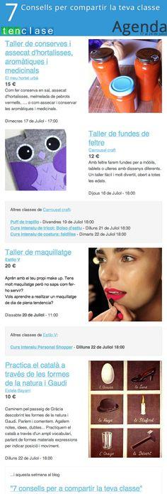 Agenda setmanal de tenclase.com  #agenda #tenclase #clase #classe #juliol #barcelona #diy