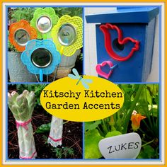 Kitschy Kitchen Garden Accents Want to have some inexpensive, fun garden accents? Go Kitchen Kitschy using Dollar Store items and used culi. Garden Decor Items, Garden Crafts, Garden Art, Garden Ideas, Tree Garden, Garden Whimsy, Garden Club, Garden Decorations, Amazing Gardens