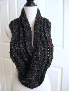 Crocheted Cowl ScarfBlack Gray RoseUnisex by RoseJasmine on Etsy, $29.00