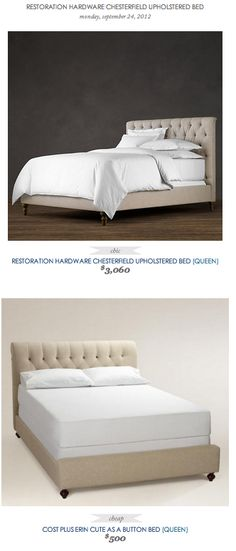 COPY CAT CHIC FIND: Restoration Hardware Chesterfield Upholstered Bed VS Cost Plus' Erin Cute as a Button Bed