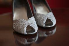 White Lace Wedding Shoes - St. Petersburg, FL Vinoy Wedding Modern White, Silver & Royal Blue - St. Pete Wedding Photographer Aaron Lockwood Photography