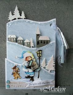 What a fun winter village to create on your Christmas card