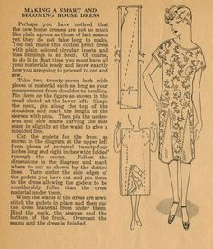 Home Sewing Tips from the 1920s - Making a Smart and Becoming House Dress Without a Pattern - in an Hour!