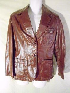 VINTAGE Women's Etienne Aigner Leather Sport Coat Blazer Jacket Burgundy NICE-14 #EtienneAigner #BasicJacket