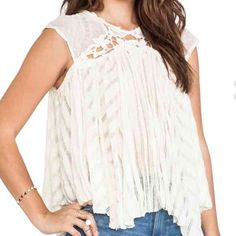 Free people ivory stars align top Back keyhole with button closure. Ivory. Free People Tops Blouses