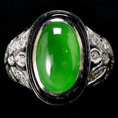 Myanmar Jadeite, Onyx, Diamond in 18k WG