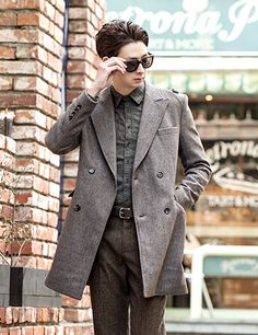 Epaulet Accent Double Breasted Coat